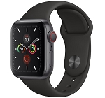 Apple Watch 5 GPS + Cellular 40mm Space Grey Aluminium Case with Black Sport Band (MWWQ2)