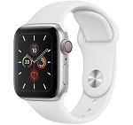 Apple Watch 5 GPS + Cellular 40mm Silver Aluminium Case with White Sport Band (MWWN2)