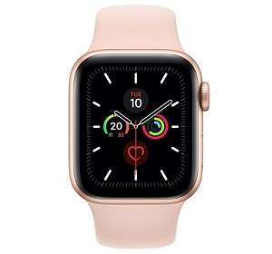 Apple Watch 5 GPS 44mm Gold Aluminium Case with Pink Sand Sport Band (MWVE2)