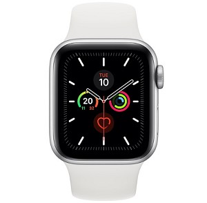 Apple Watch 5 GPS 44mm Silver Aluminium Case with White Sport Band (MWVD2)
