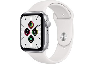 Apple Watch SE GPS 44mm Silver Aluminium Case with White Sport Band